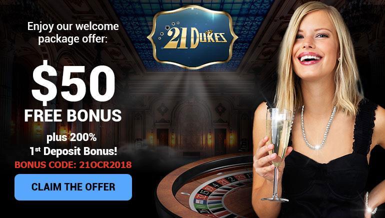 盛大歡迎優惠:21Dukes Casino50美元免費獎金