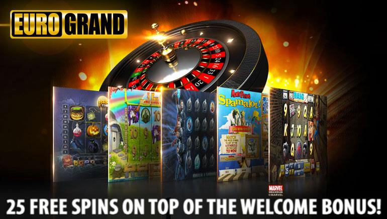 盡享EuroGrand賭場歡迎紅利  更有25次免費旋轉